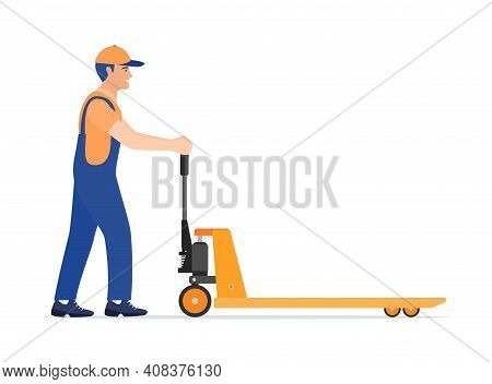 Man With Hand Pallet Jack Lift Isolated On White. Empty Hand Pallet Truck And Male Mover. Worker In