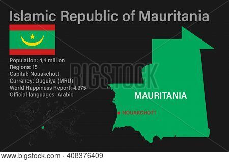 Highly Detailed Mauritania Map With Flag, Capital And Small Map Of The World
