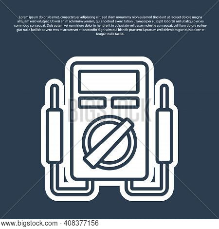 Blue Line Ampere Meter, Multimeter, Voltmeter Icon Isolated On Blue Background. Instruments For Meas