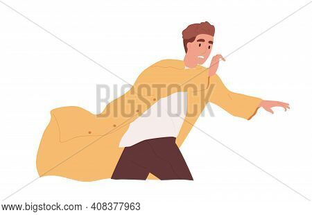 Frightened And Scared Person Running Away In Panic Or Escaping From Psychological Problems. Terrifie