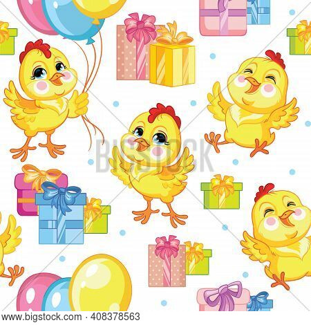 Cute Cartoon Party Chickens With Balloons And Presents. Vector Seamless Pattern On White Background.