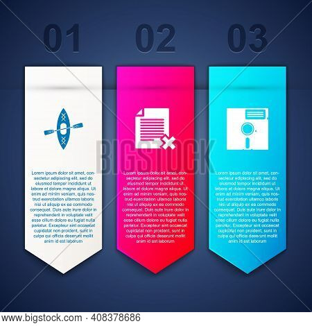 Set Kayak And Paddle, Delete File Document And Floppy Disk In The 5.25-inch. Business Infographic Te