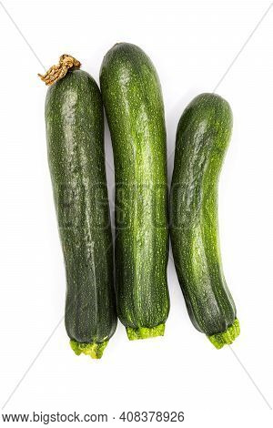 Zucchini Isolated. Fresh Courgette Vegetable, Ugly Organic Squash, Green Nutrition. Raw Ground Food,