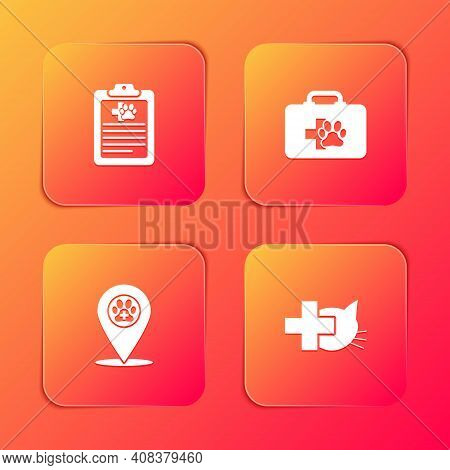 Set Clinical Record Pet, Pet First Aid Kit, Location Veterinary And Veterinary Clinic Icon. Vector