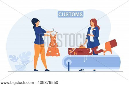 Customs Employee Checking Luggage Of Tourist. Woman Showing Suitcase And Clothes To Inspector. Flat