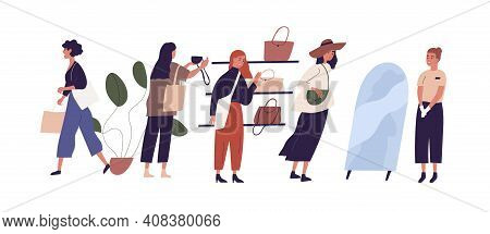 Women Shopping In Retail Bag Store Choosing Handbags With Help Of Saleswoman Or Consultant. Colored