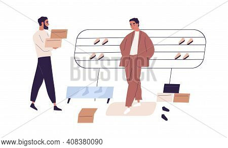 Man Shopping In Retail Shoe Store. Scene With Salesman And Buyer Trying On And Choosing Sports Footw