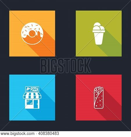 Set Donut, Ice Cream, Pizzeria Building Facade And Burrito Icon. Vector