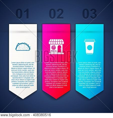 Set Taco With Tortilla, Pizzeria Building Facade And Coffee Cup. Business Infographic Template. Vect