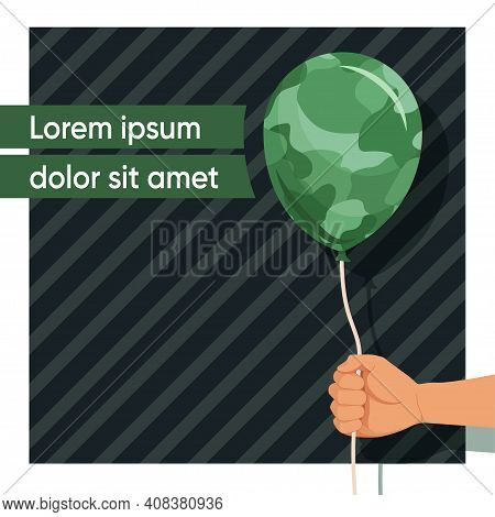 23 February. Day Of The Defender Of Fatherland. Template For Social Networks. Camouflage Balloon In