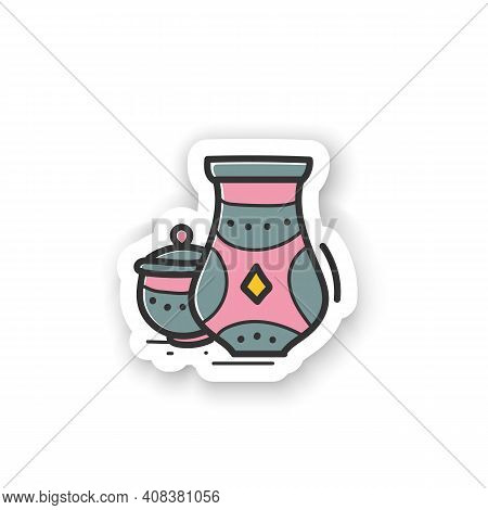 Pottery Hobby Sticker. Unique Pitchers. Folk Badge For Designs. Special Ornament On Jars. Beautiful