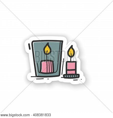 Handmade Candles Sticker . Create Your Own Candles Using Dry Flowers. Enjoy The Beautiful Light Of F