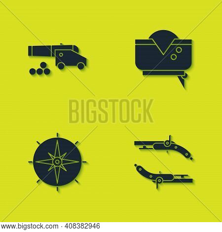 Set Cannon With Cannonballs, Vintage Pistols, Wind Rose And Pirate Hat Icon. Vector