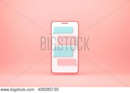 Smartphone With Messenger Window On Pink Background. Chatting And Messaging Concept. 3d Rendering