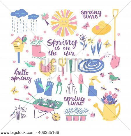 Spring Garden Set With Tools, Flowers, Sun, Birds And Text. Vector Illustration.