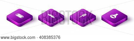 Set Isometric Hand Mirror, Mustache, Hairbrush And Beard Mustaches Care Oil Bottle Icon. Vector