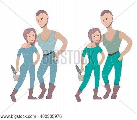 Couple Standing Ready To Gardening. Farmers Isolated On White Background