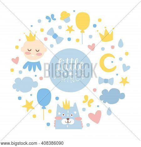 Little Prince Banner Template, Baby Boy Shower And Birthday Party Design With Cute Childish Pattern