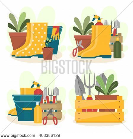 A Set Of Garden Tools. Four Compositions With Rubber Boots, Shovels, Bucket, Pruning Shears, Flower