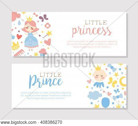 Little Prince And Princess Banner Templates Set, Baby Boy And Girl Shower Or Birthday Party Poster,