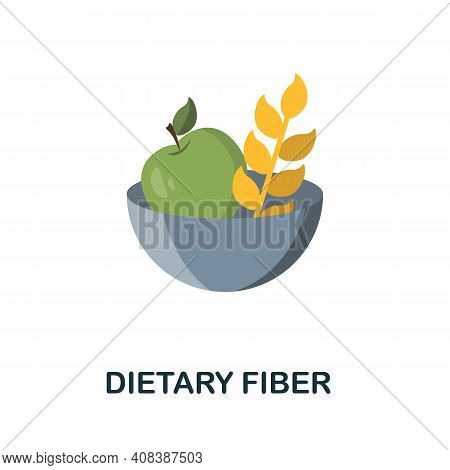 Dietary Fiber Flat Icon. Color Simple Element From Nutrition Collection. Creative Dietary Fiber Icon