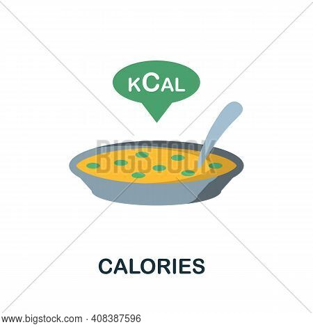 Calories Flat Icon. Color Simple Element From Nutrition Collection. Creative Calories Icon For Web D