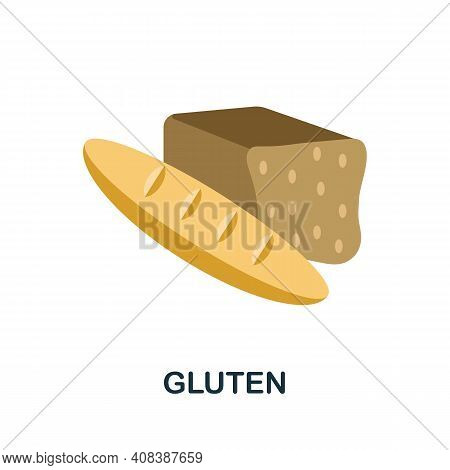 Gluten Flat Icon. Color Simple Element From Nutrition Collection. Creative Gluten Icon For Web Desig
