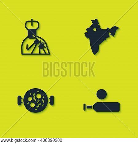 Set Indian Man Plays Flute, Wood Cricket Bat And Ball, Chicken Tikka Masala And Map Icon. Vector