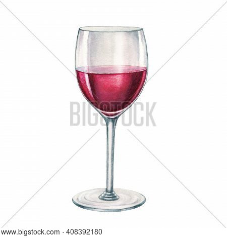 Red Wine Glass Watercolor Illustration. Hand Drawn Realistic Fresh Alcohol Beverage Element. Cristal