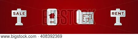 Set Hanging Sign With Sale, Online Real Estate House, House Plan And Rent Icon. Vector