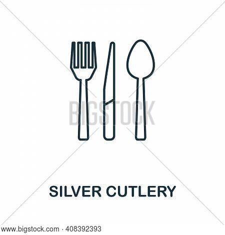 Silver Cutlery Icon. Simple Element From Jewelery Collection. Creative Silver Cutlery Icon For Web D