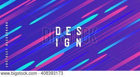 Holographic Textureof Colorful Cool Lines Illuminated Light Shapes On Blu Backdrop