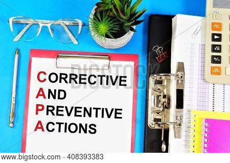 Corrective And Preventive Actions. A Text Label In The Planning Folder. The Application Of Measures