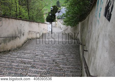 Prague, Czech - April 24, 2012: This Is A Staircase Descent From The Hills Of Petrin Gardens To Hrad