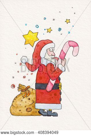 A watercolor illustration of Santa Claus licking the candy cane