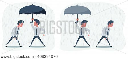 Business Man With An Umbrella. Businessman With Opened Umbrella. People In The Rain. Businessman Go