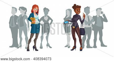 Cartoon Business Women Caucasian And African American Multiracial Female Characters Stand Out Of Cro