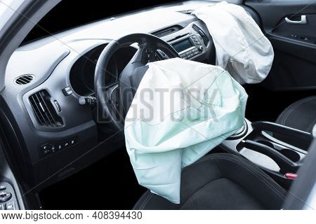 Airbag Exploded At A Car After The Accident. Driver And Passenger Airbag. Car Crash. Interior Of A C