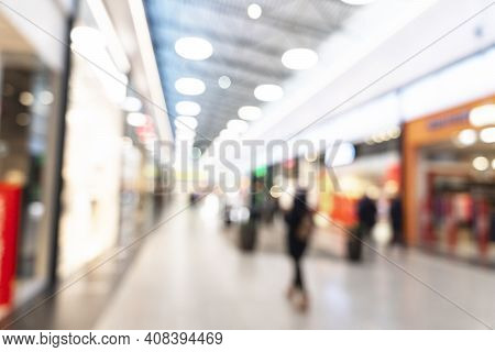 Abstract Blurred Background Of Modern Luxury Department Store Hall Or Shopping Center Mall. Blurred