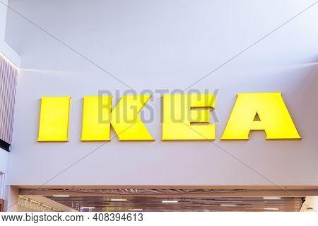 Sankt -petersburg, Russia, February 10, 2021: Ikea Logo On A Ikea Market. Ikea Building Entrance Log