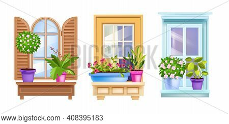 Vintage House Window Vector Set With Casements, Flowerpots, Blossom Home Plants, Sills, Frames. Arch