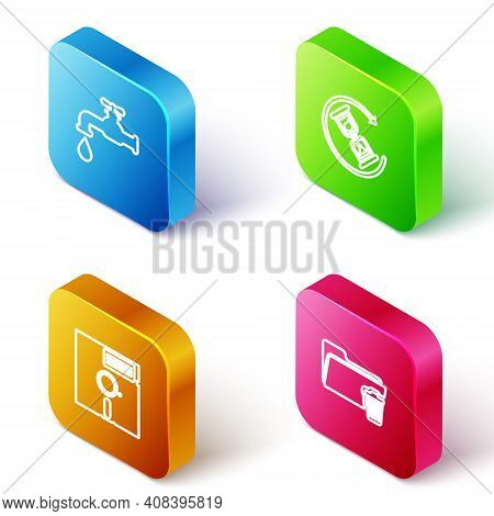 Set Isometric Line Water Tap, Waiting, Floppy Disk The 5.25-inch And Delete Folder Icon. Vector