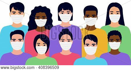 Group Different People Wearing Medical Face Masks To Prevent Coronavirus, Disease, Flu, Air Pollutio