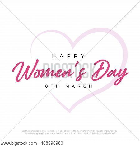Pink Happy Women's Day Typographical Design Elements. International Women's Day Icon.women's Day Sym