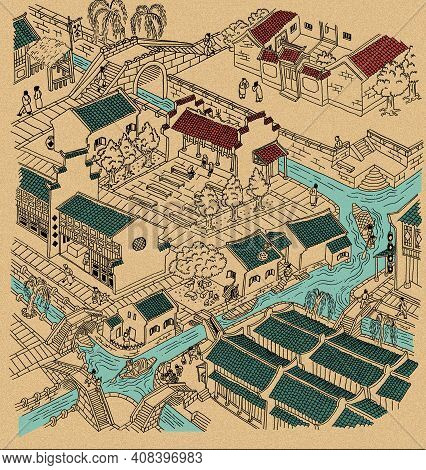 Illustration Of Ancient Water Town Of China. Black Outline, Partially Colored, With Grain Texture Ba