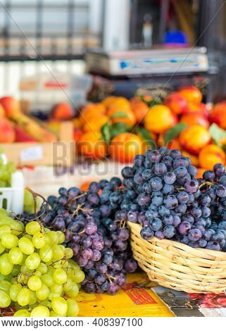 Large Bunches Of Succulent Green And Black Grapes At Kotor Market,montenegro,eastern Europe.
