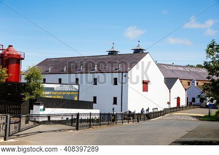 Bushmills, Ireland - July 7, 2019: Buildings And Exterior Of Old Bushmills Distillery, County Antrim