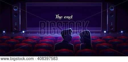 Loving Couple In Movie Theater, Man And Woman Look On Each Other Sitting In Empty Cinema Hall Front