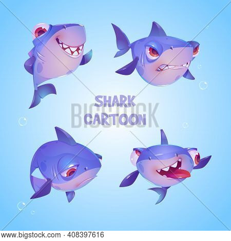 Funny Shark Character With Different Emotions. Vector Set Of Cute Cartoon Mascot, Predator Fish Smil
