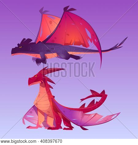 Dragons Cartoon Characters. Fantasy Magic Creatures Breathing With Fire, Funny Mascot With Horns, Wi